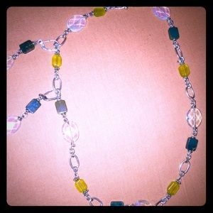 Jewelry - Necklace silver and opals and jade yellow